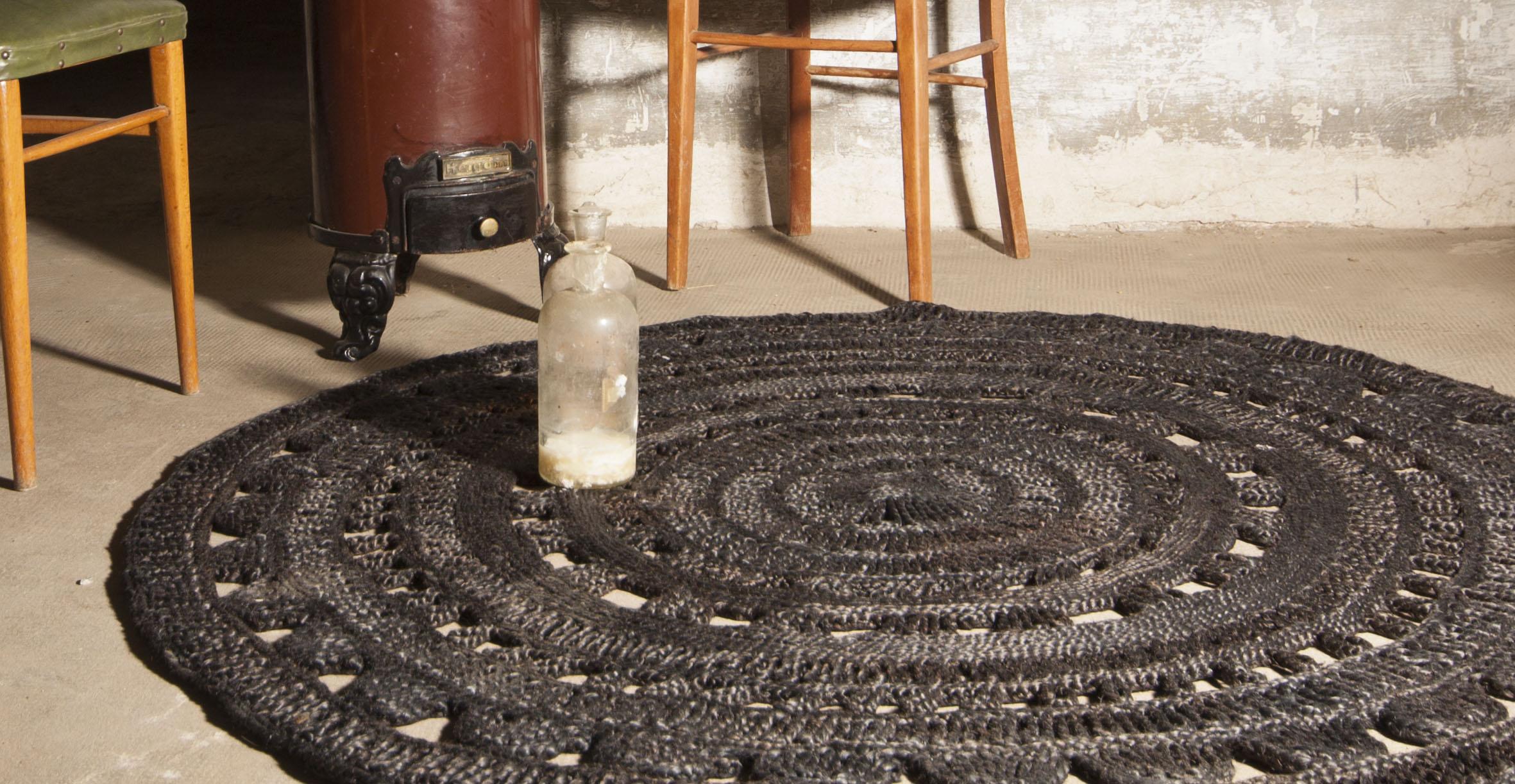 Sisal Black Round Rug